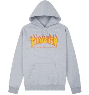 Sudadera Thrasher logo flames grey
