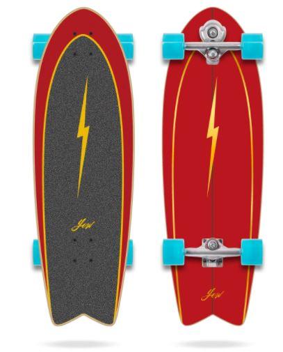 "Size: 32"" x 10"" x 18.5"" Wb System: YOW Meraki S5 Wheels: 3Cinetic Crop 66 x 51mm 78A Blue wheels Griptape: Digital print grippe Concave: Medium Rocker: Tail Rocker Yow Pipe 32″ Power Surfing Series Surfskate"