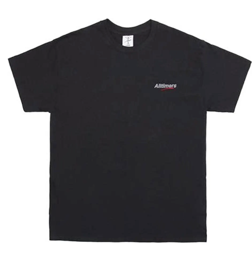 all timers black embroidered logo tee estate